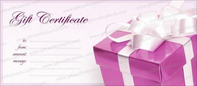 Pink box gift certificate template DIY gift certificate, voucher - cute gift certificate template