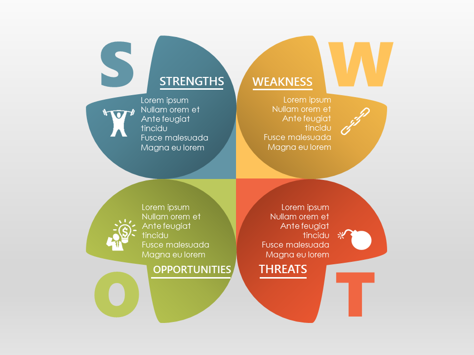 SWOT Analysis PowerPoint Template with Material Design – Template Swot Analysis