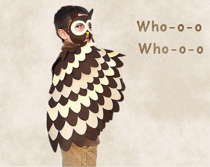 Los niños traje de búho, alas de pájaro de los niños y máscara, vestido de juguete, disfraz de buho, niñas y niños, niños pequeños