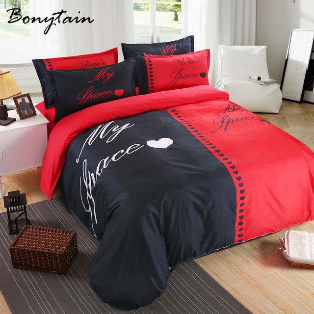 c81d7f5c07 3/4pcs 1 Set Her His SideQueen King Size Duvet Cover Bedsheet Pillowcase 3D  Word Art Lovers Couple Bedding Set Husband Wife Gift