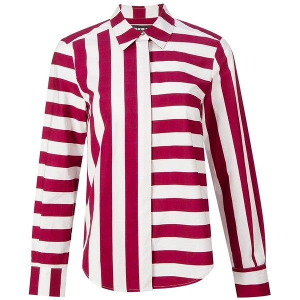 House Of Holland Striped Shirt (£290) ❤ liked on Polyvore featuring tops, shirts, red, red stripe top, striped shirt, red striped shirt, shirt tops and red white shirt