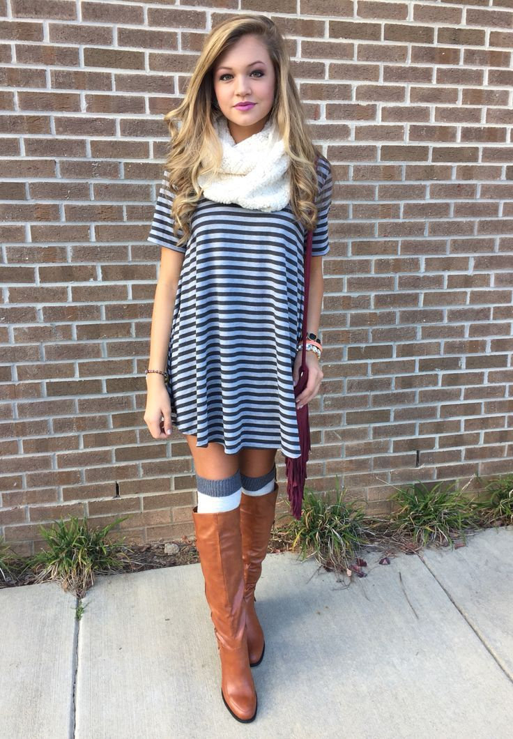 344b18191 Striped swing dress, white scarf, knee high socks, brown riding boots