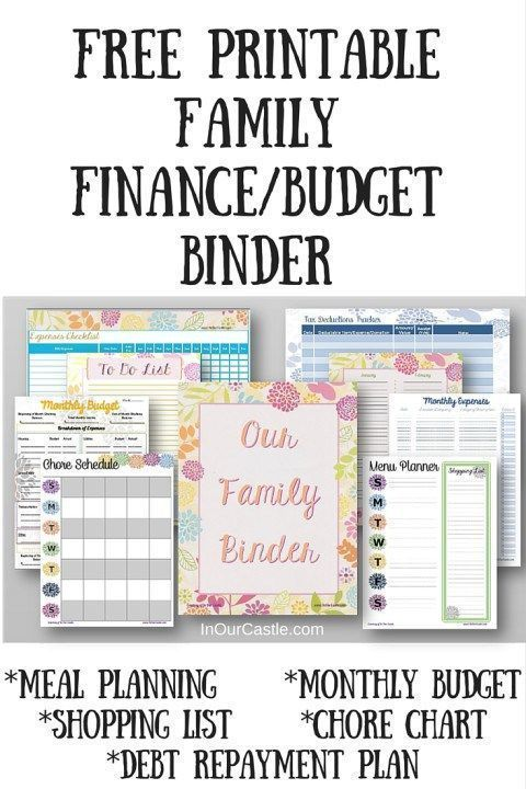 Free Printable Family Budget Finance Binder with meal plan monthly