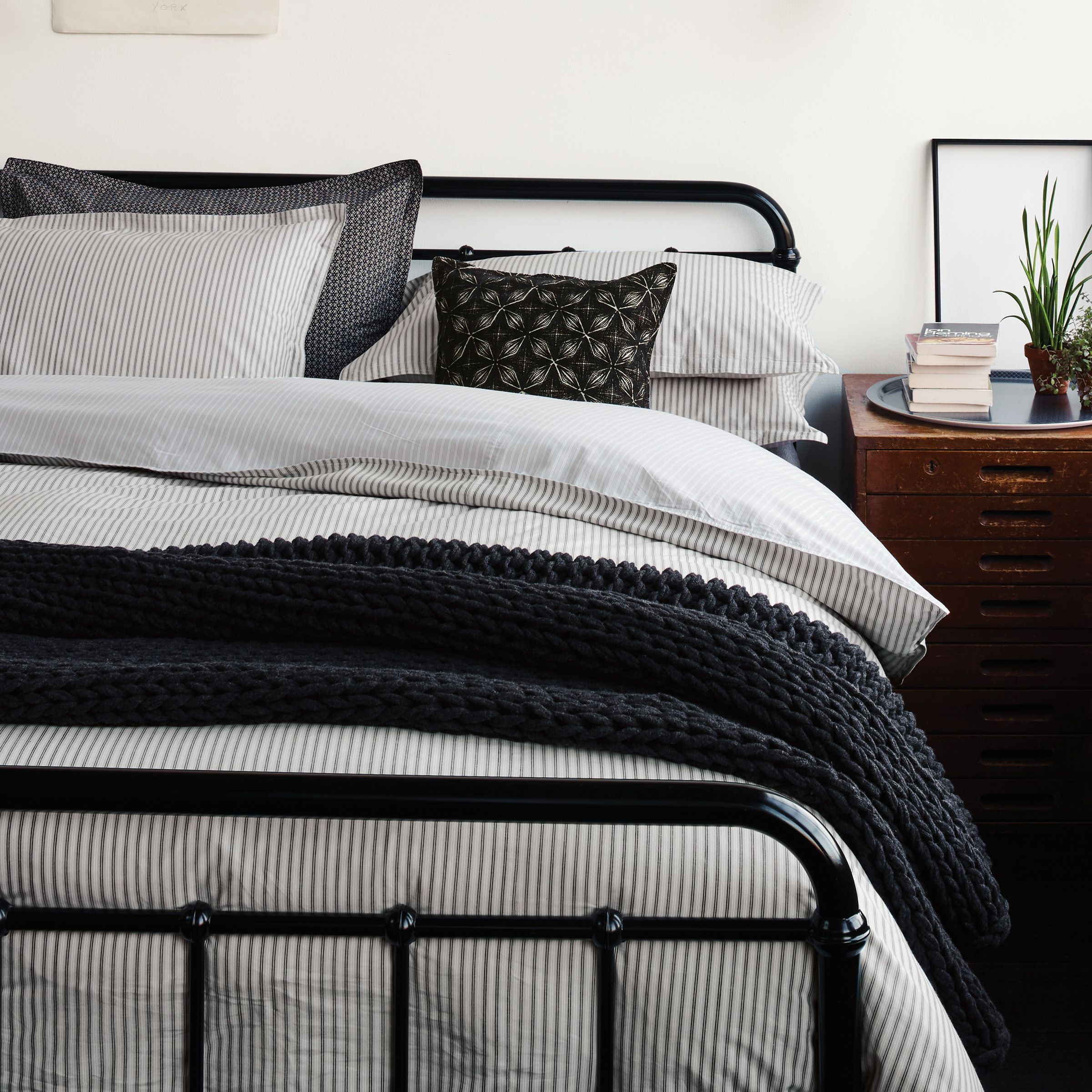 The Pinterest Proven Formula For The Ultimate Cozy Bedroom: Murmur Ticking Stripe Bedding In Charcoal & Linen