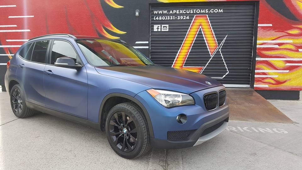 BMW x1 KPMF Matte Trenton Blue Gloss Black Powdercoated