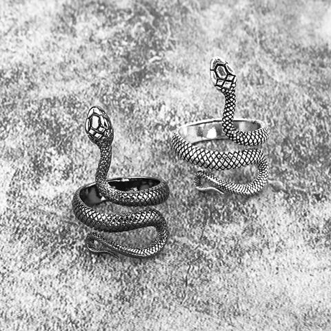 Black Personality Exaggeration Retro Snake Ring Snake Punk Animal Geometric Ring
