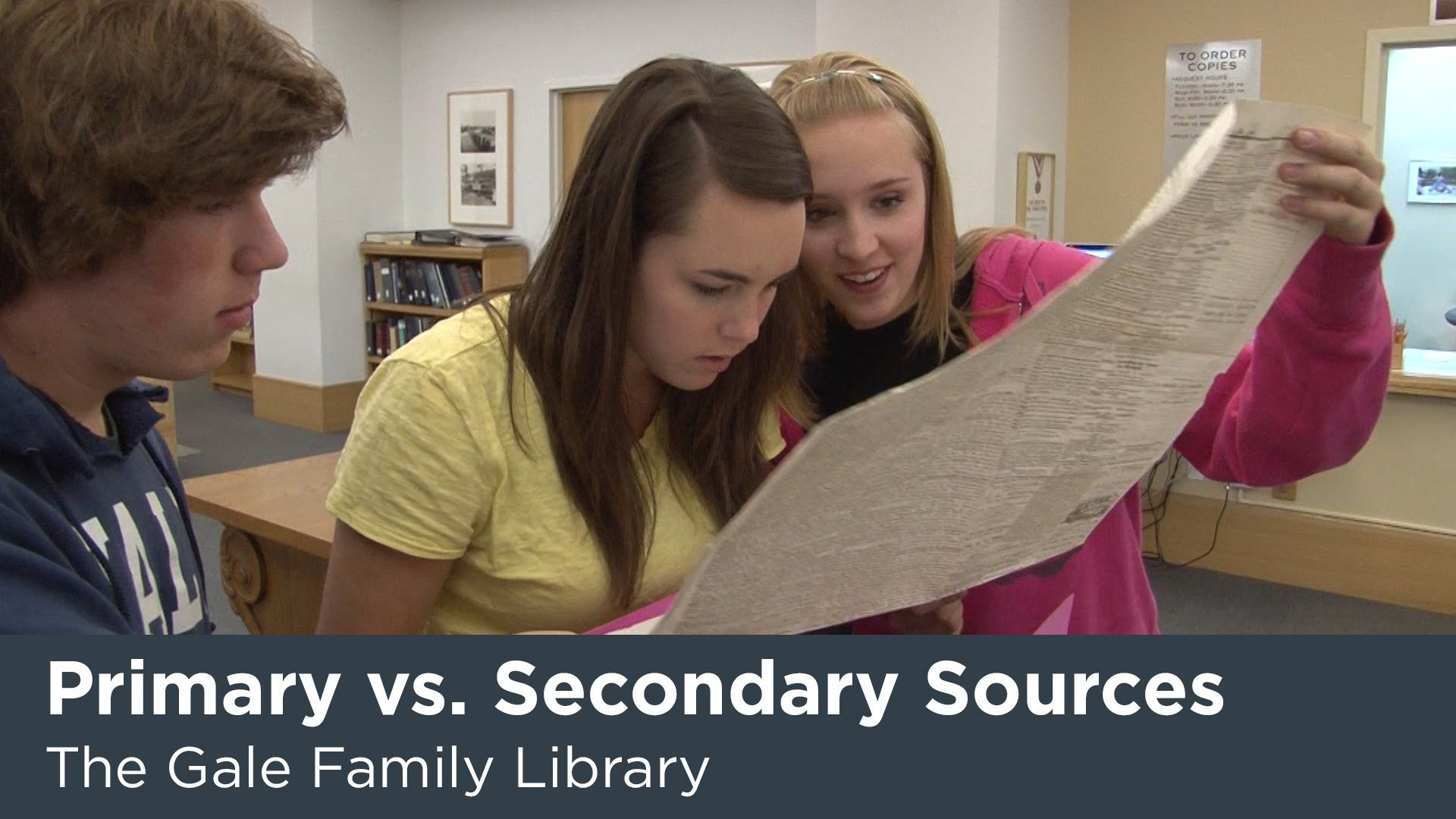 Often students come to the Gale Family Library to research primary source materials, but find they're not quite sure what a primary source is. Learn the diff...