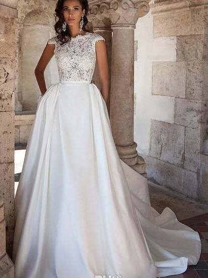 eecc74ca2df Find More Wedding Dresses Information about 2016 Plus Size Maternity  Wedding Dress Pockets Discount A Line Vintage Lace Cap Sleeves Backless  White Ivory ...