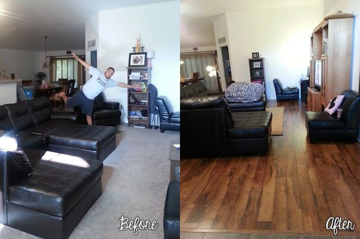 Before And After Carpet And Laminate Flooring Mill Creek Walnut Pergo  Laminate