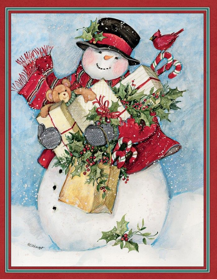 Susan Winget — Candy Cane Snowman & Santa Assorted Christmas Card ...