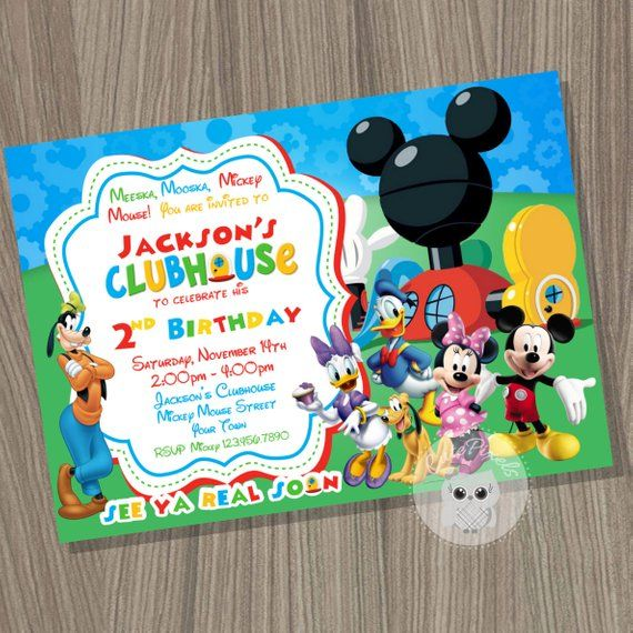 Mickey Mouse Clubhouse Thank You Card Blank Mickey Mouse Birthd Mickey Mouse Birthday Invitations Mickey Mouse Clubhouse Birthday Mickey Mouse Clubhouse Party