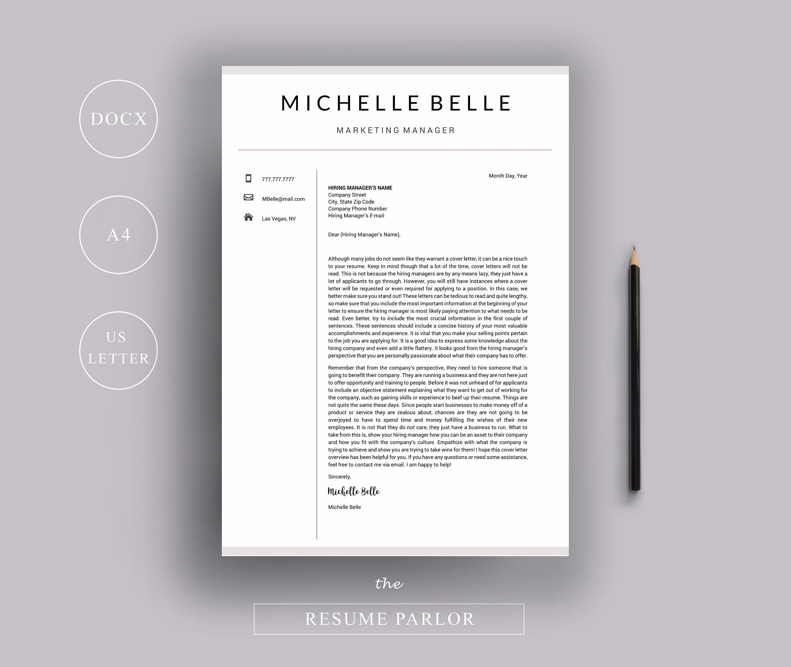 Resume 4 Page A4 US Letter Sizes ReferencesPageCover