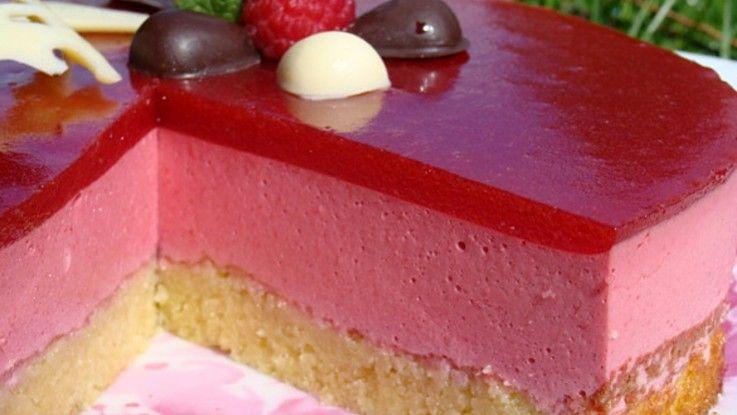 Bavarois aux framboises, miroir aux fraises ou framboises #entremetframboise
