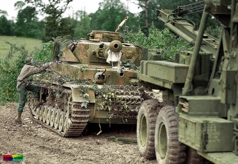 Panzerkampfwagen Pz. IV Ausf. J, tactical number 6×5, from 6./SS-Pz.Rgt.2, knocked out by the 2nd Battalion/US 117th Infantry Regiment of the 30th Infantry Division on the outskirts of St. Fromond, Normandy, 9th July 1944.