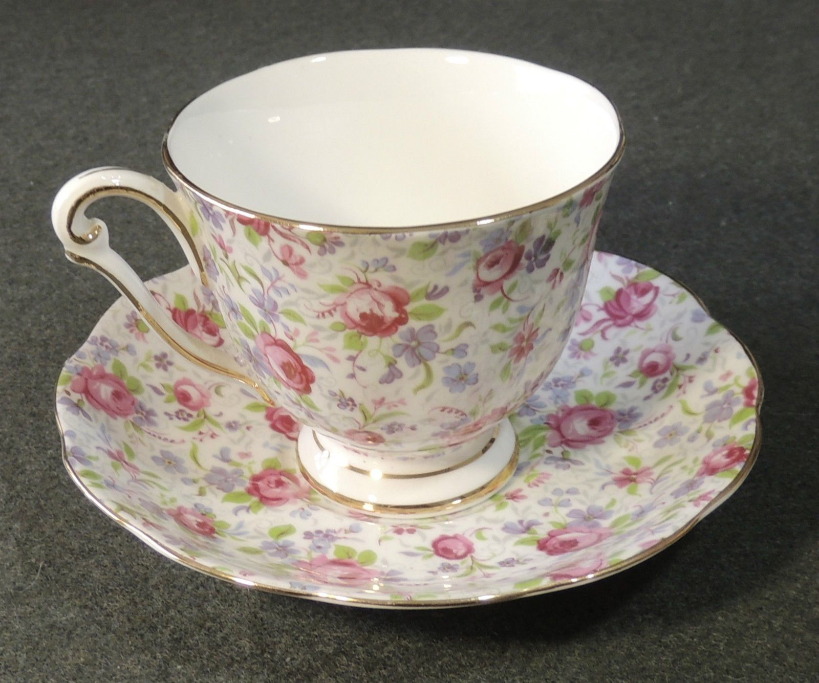 Princess Anne Fine Bone China England Rose Chintz Calico Footed Tea Cup & Saucer • $19.99 - PicClick