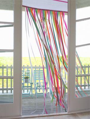 ribbon curtain! Beautiful!