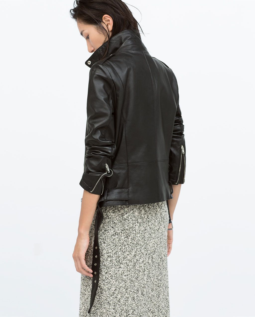 ZARA WOMAN ZIPPED LEATHER BIKER JACKET (With images