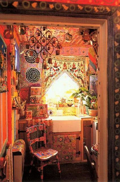 Gypsy Decor For Kitchen With Vibrant Colors And Wall And Ceiling Painting  Art And Undermount Sink And Patterned Curtain And Plant Pots And Wooden  Painted ...