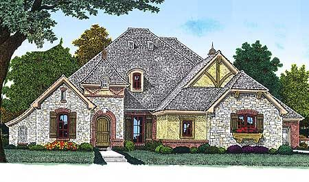 Plan W48360FM: Corner Lot, French Country, European House Plans & Home Designs