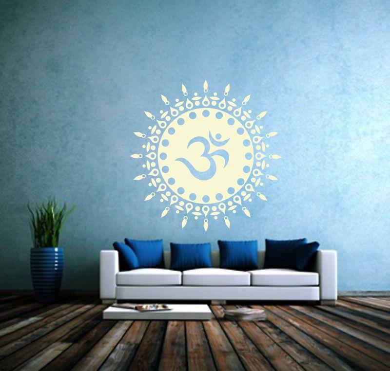 Om Sonne Wandtattoo in weiss #wandtattoos#om    lichterleben - wandtattoo braune wand