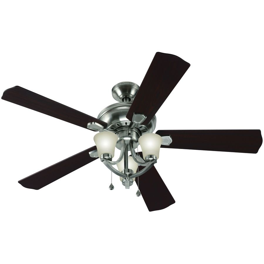 Shop Harbor Breeze Bay Bridge 52 In Brushed Nickel Downrod Or Flush Mount Ceiling Fan With Light