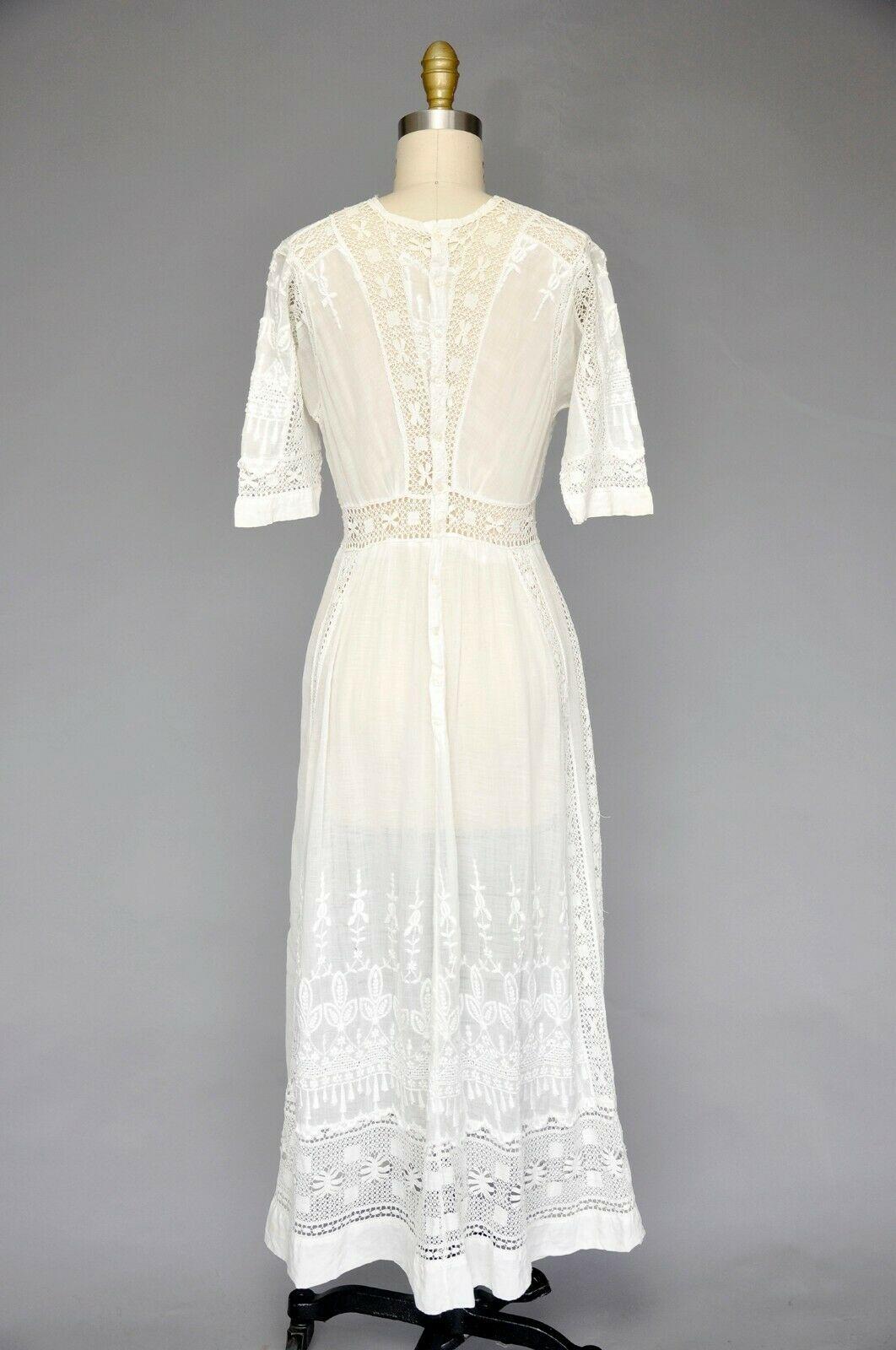 Antique Vintage Edwardian White Tea Lawn Dress Lace Inserts Floral Embroidery S Ebay White Vintage Dress Dresses Lace Dress [ 1600 x 1062 Pixel ]