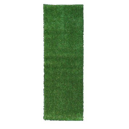 Ottomanson Garden Grass Collection Indoor/Outdoor Artificial Solid Grass Design Area Rugs and Runners, Green Turf