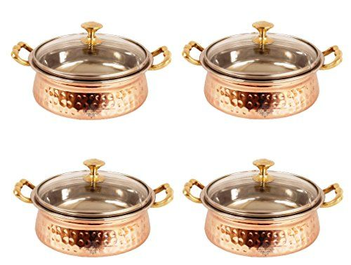 IndianArtVilla Handmade Steel Copper Casserole Dish Serving Food Daal Curry S *** Continue to the product at the image link.(This is an Amazon affiliate link and I receive a commission for the sales)