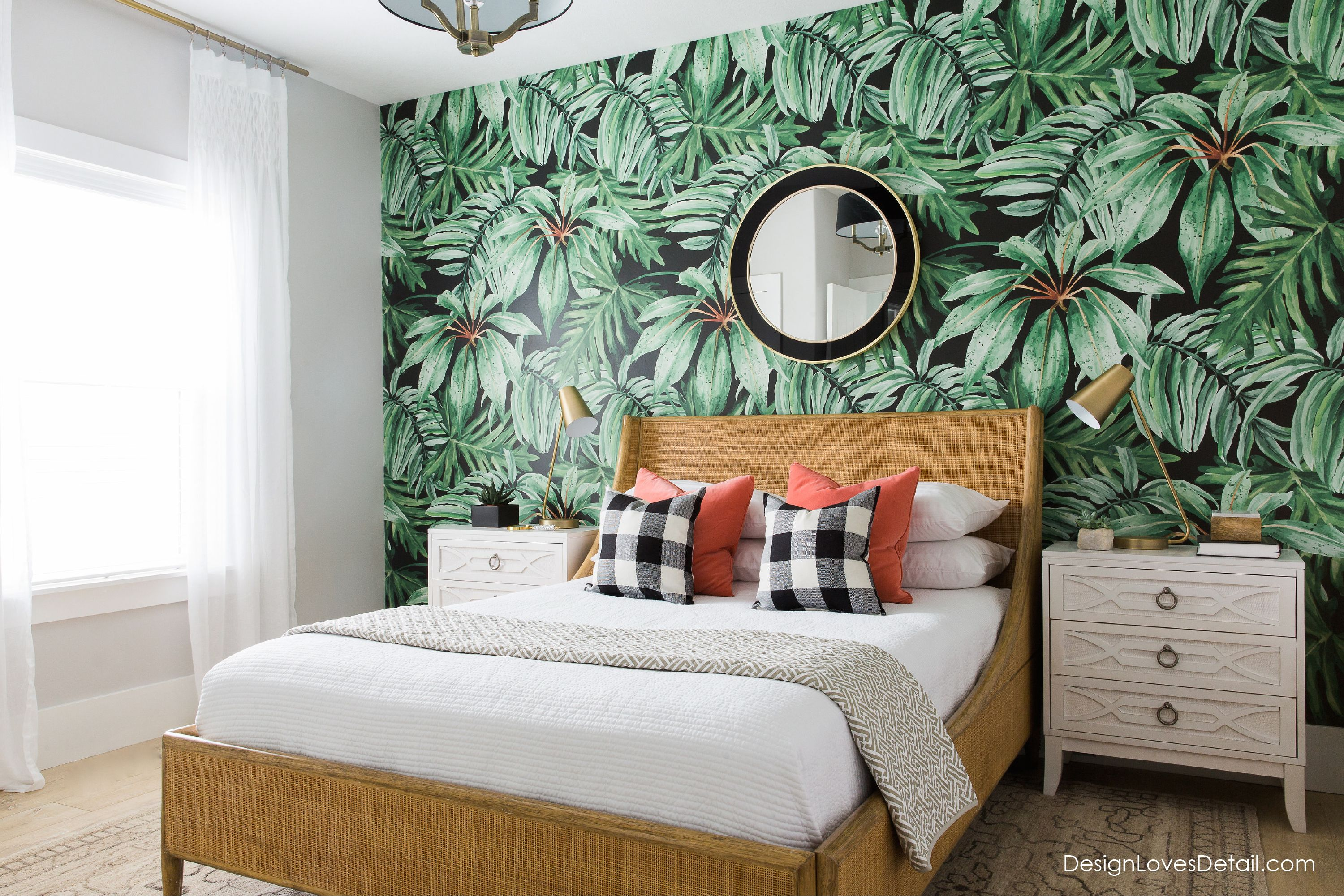 this guest bedroom designed by mollie openshaw has a tropical print wallpaper creating an eye catching accent wall for this fun space - Tropical Bedroom Decoration