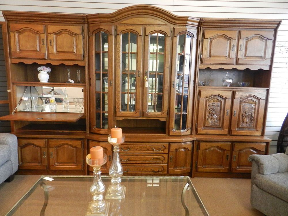 Hand Carved German Shrunk Schrank Chinese Carved With Bar 6 Pc Furniture Built In Entertainment Center Home
