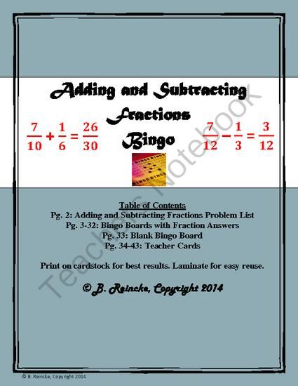Adding and Subtracting Fractions Bingo (30 pre-made cards!) | Math ...