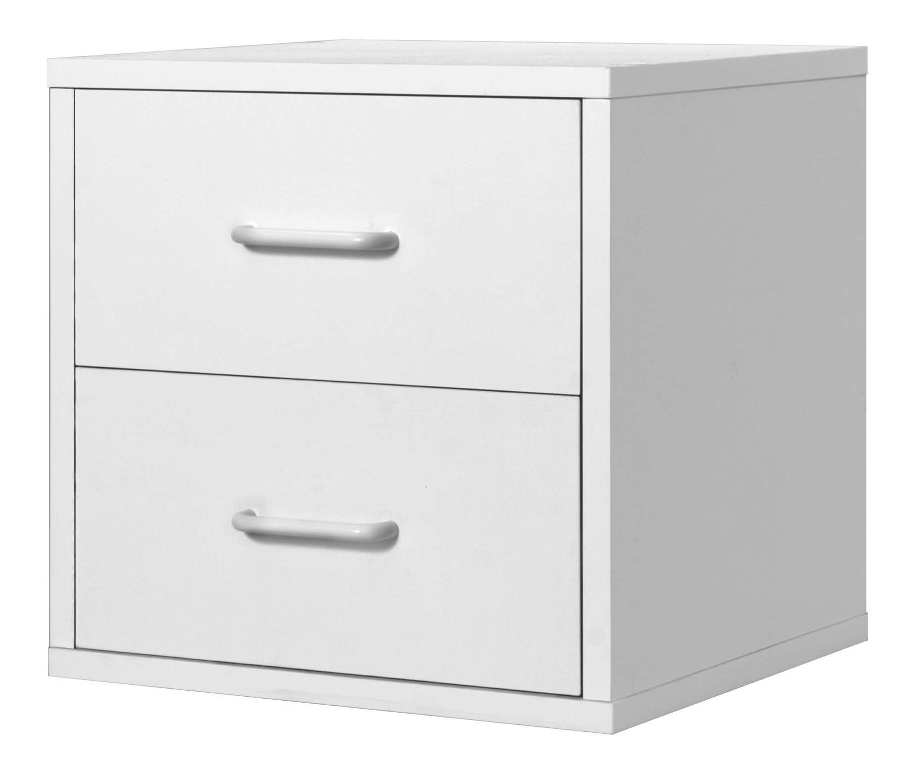 Foremost Modular Storage Cube with Two Drawers in White