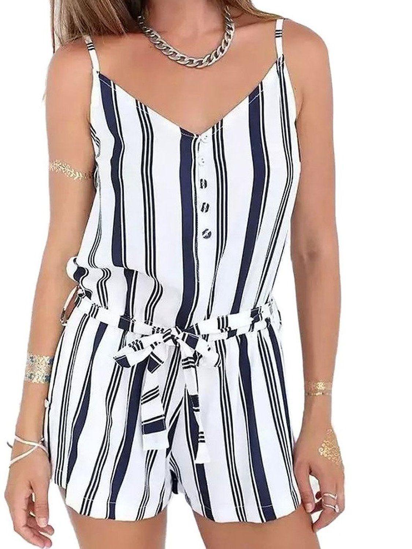 36b2e19d669ad Amazon.com: Choies Women's Blue Stripe Spaghetti Strap Tie Waist V ...