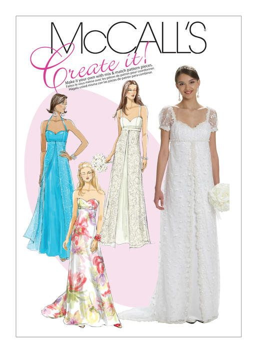 FORMAL WEDDING PROM Dress Pattern by McCall\'s 6030 Size 6-14 or 16 ...