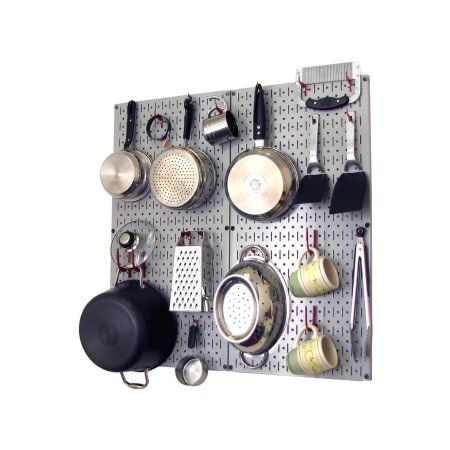 Wall Control Kitchen Pegboard Organizer Pots and Pans Pegboard Pack Storage and Organization Kit with Gray Pegboard and Red Accessories