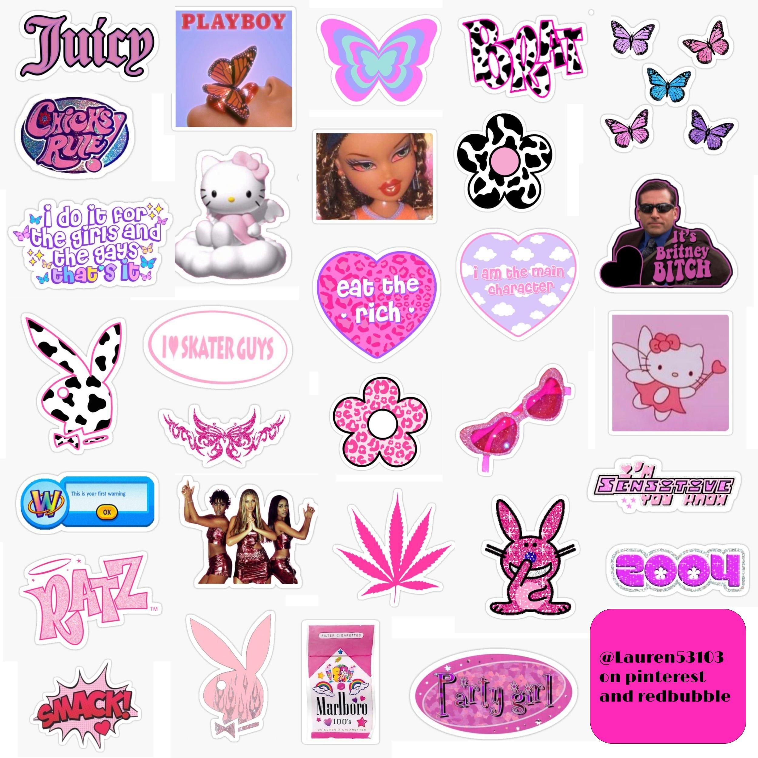 Y2k Sticker Pack 2 In 2020 Sticker Art Pop Stickers Print Stickers