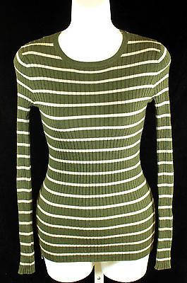 Philosophy Republic Clothing Long Sleeve Top with Stripes Size Small Green Gray