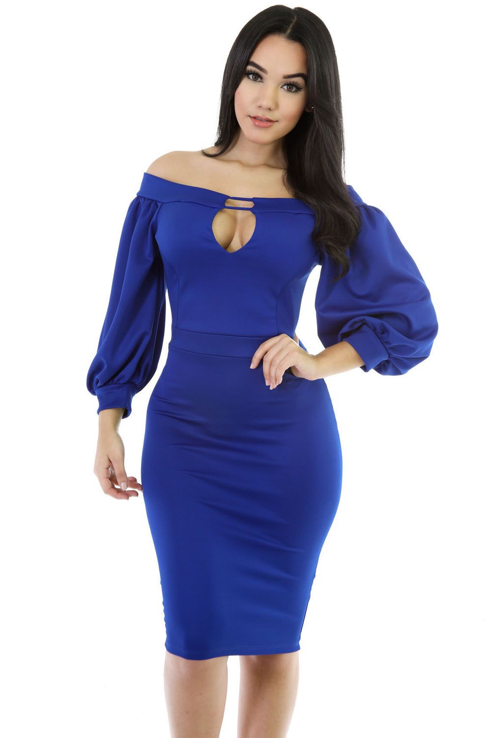 8242cc3ff392 Blue Puffs Peep Hole Off Shoulder Midi Bodycon Dress