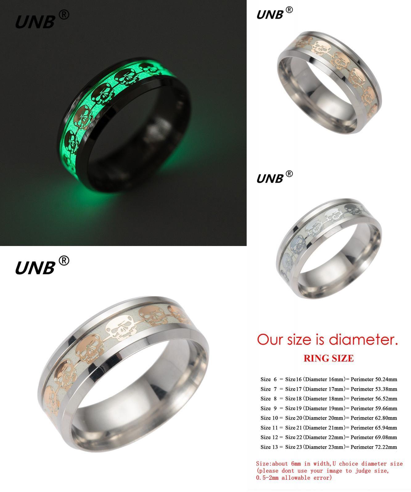 Visit to Buy] UNB 2017 Fashion Glow Skulls Luminous Titanium Steel