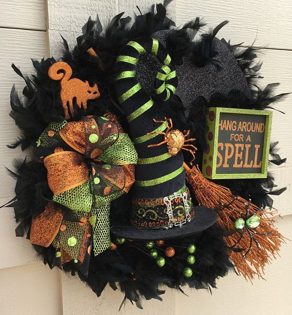 Halloween wreathHalloween Witch WreathWitch hat wreaths - witch decorations