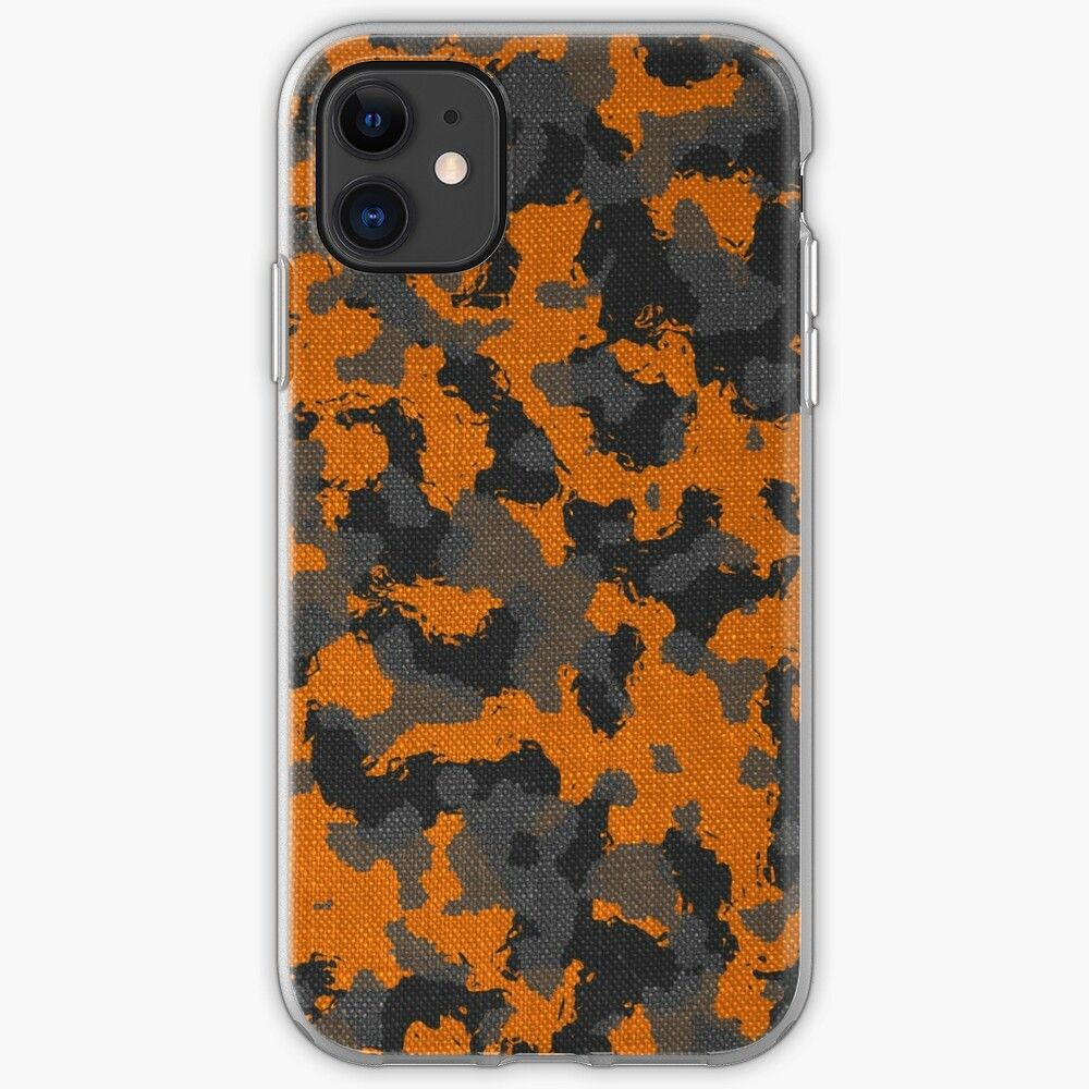 Orange fabric camouflage iphone case by fabiophoto in