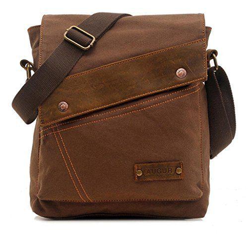 9e504a2ef56 Vere Gloria Men Women Small Canvas Messenger Bag Crossbody Shoulder  Handbags Ipad Laptop Bag for School Travel Hiking and Everyday Use (Brown)