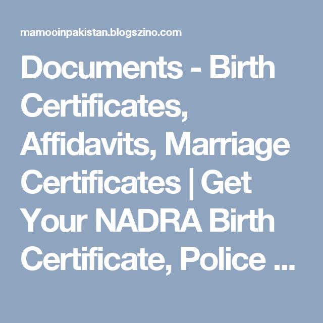 Documents - Birth Certificates, Affidavits, Marriage Certificates ...