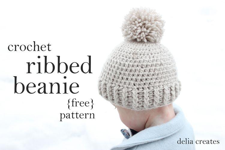Crochet Ribbed Beanie - Free Pattern | crochet | Pinterest | Gorros ...