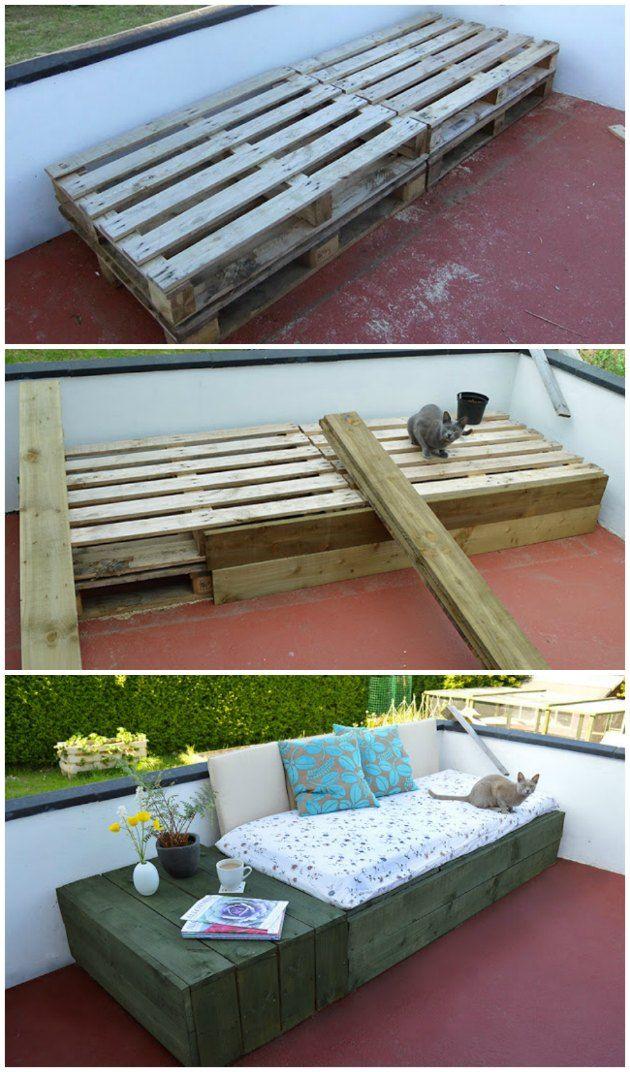 Seriøst Sofa lavet ud af paller. Pallerne er beklædt med træbrædder så man JZ96