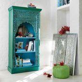 Indisches Bücherregal aus massivem Mangoholz, blau und grün | Maisons du Monde   - Indische M... #indischemöbel
