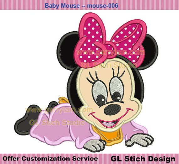 Baby minnie mouse applique girl Machine by GLStitchStudio on Etsy, $2.99