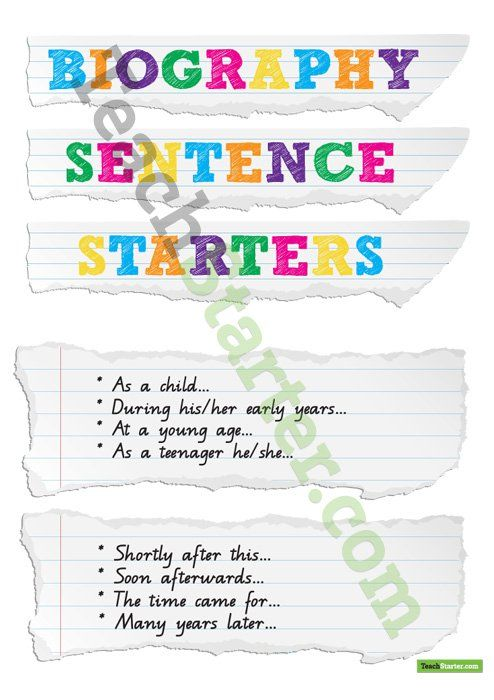 Biography Sentence Starters Teaching Resource  Biography Writing