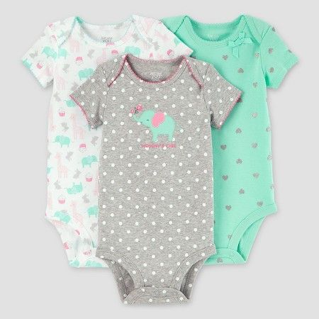 The Childrens Place Baby Girls 3 Pack Novelty Printed Bodysuit Set