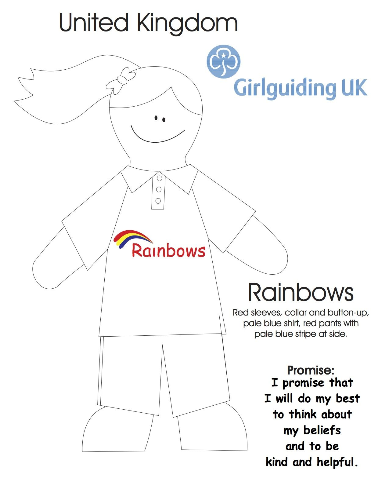 United Kingdom Rainbow Colouring Sheet | girl scouts | Pinterest